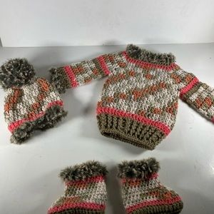 Hand Made Crochet Baby Outfit.